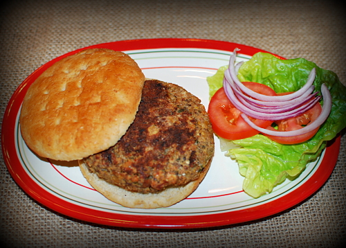 chickpea, cheese and onion veggie burger