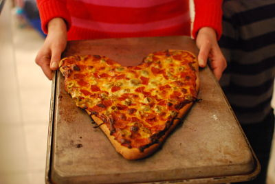 large heart pizza