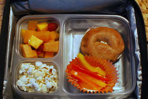 Cream Cheese Bagel with popcorn, fruit salad, and peppers_opt