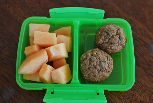 Cantaloupe and 2 Mini Banana Chocolate Chip Muffins