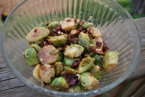 maple dijon sprouts with bacon cranberries and walnuts