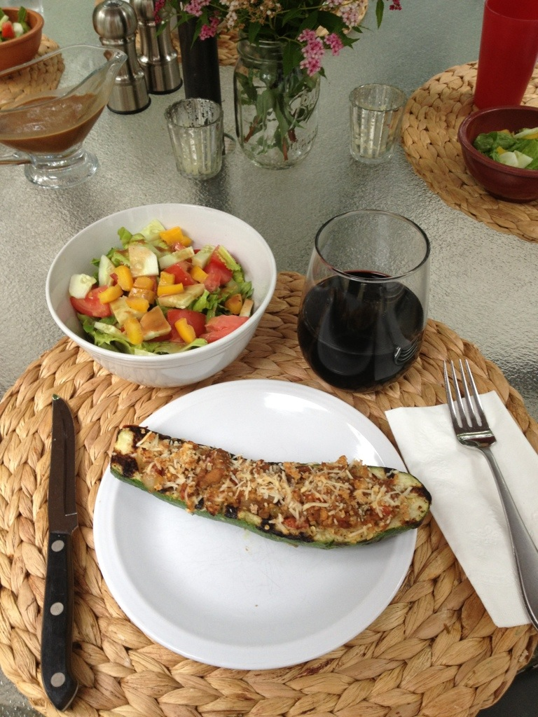 Stuffed Grilled Zucchini and Salad
