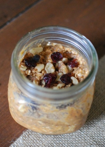 Overnight Pumpkin Oats with cranberries and walnuts