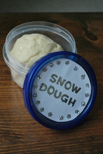snow dough with a glitter label