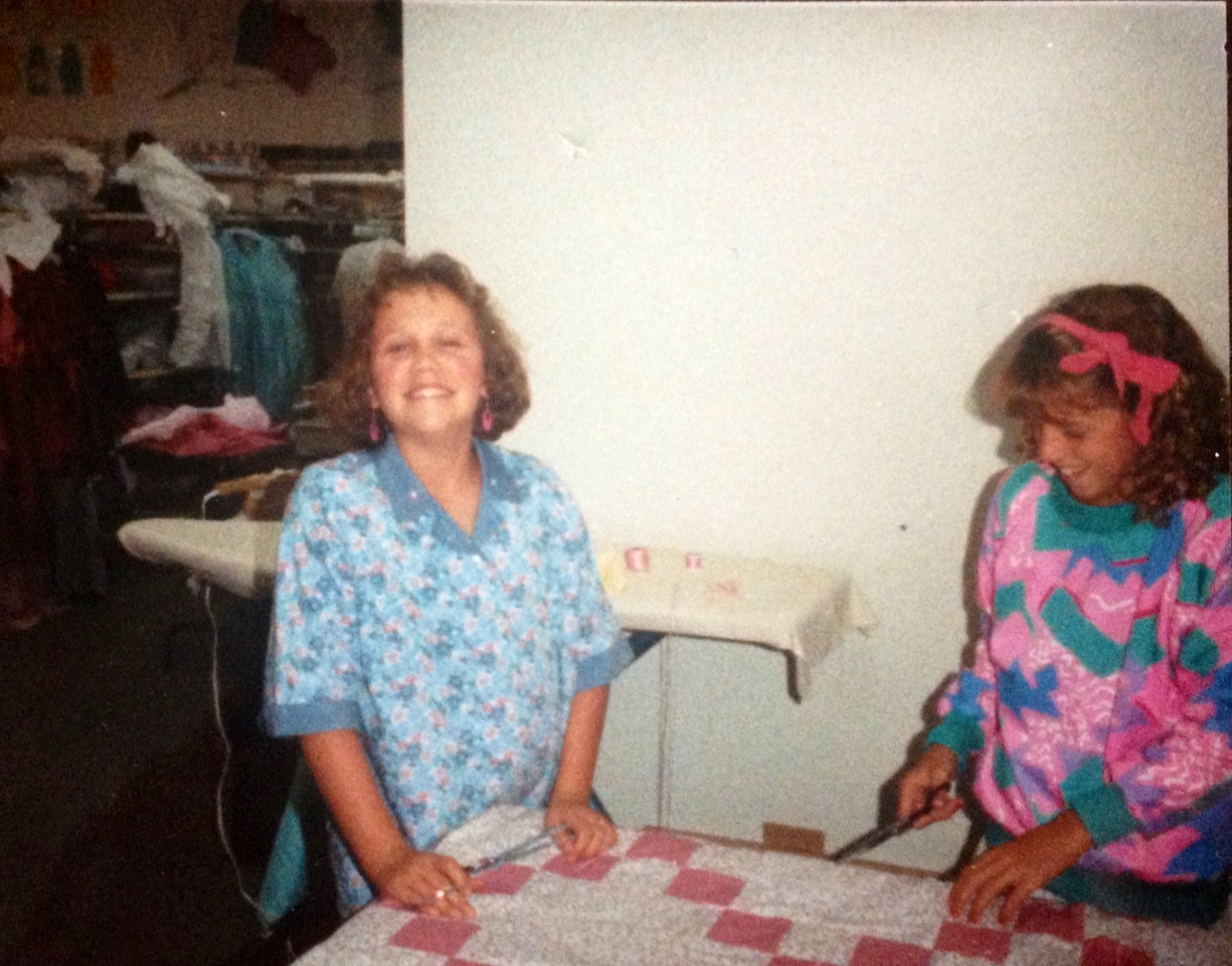 Me, at 11-years-old, making my very first quilt.